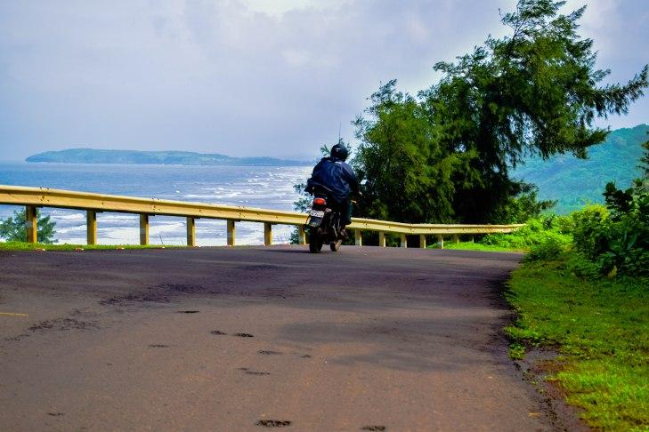 View of the Ganpatipule Beach from Aare ware road.