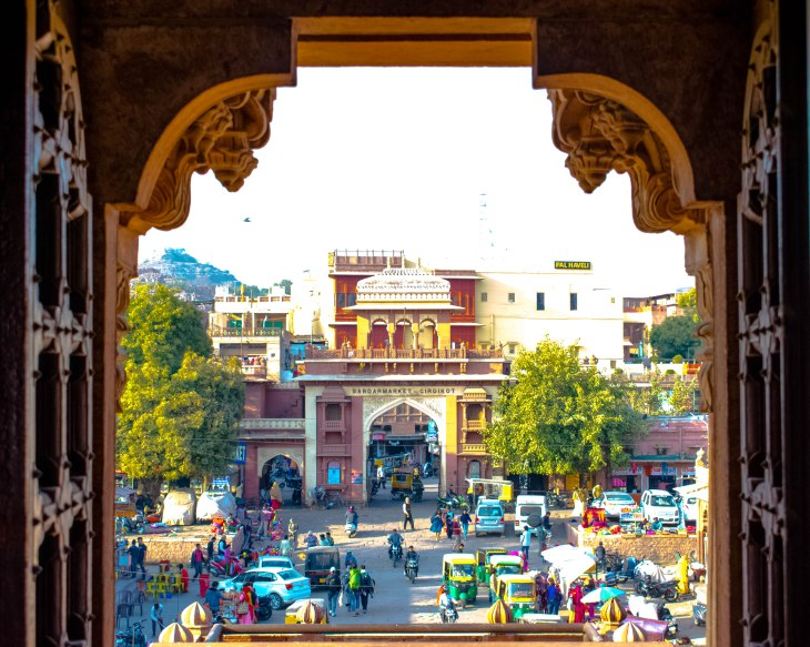 Market view from clock tower